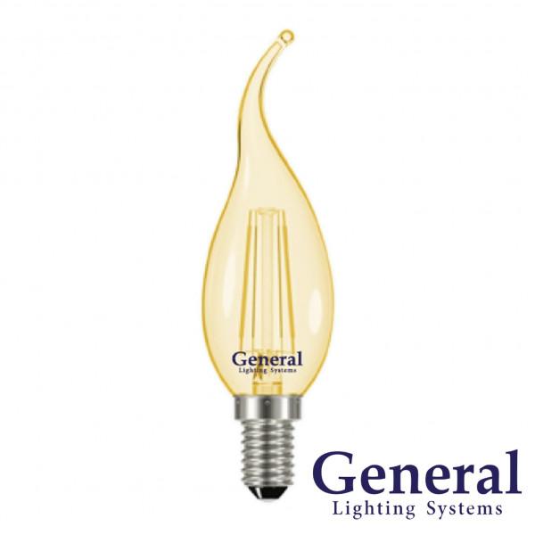 лампа LED GENERAL 7-CWS-6500-E14 75W 230V свеча на ветру золото филамент 649931( 1043 )