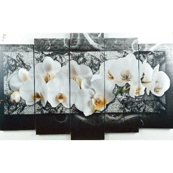 картина модульная 125*80/5 Х-1011 орхидеи( 1100 )