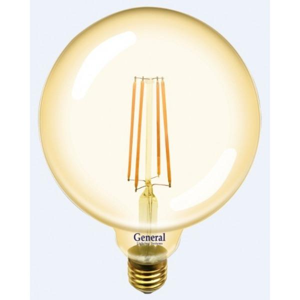 лампа LED GENERAL 10-G125S-2700-E27 230V филамент золото 655310( 2178 )