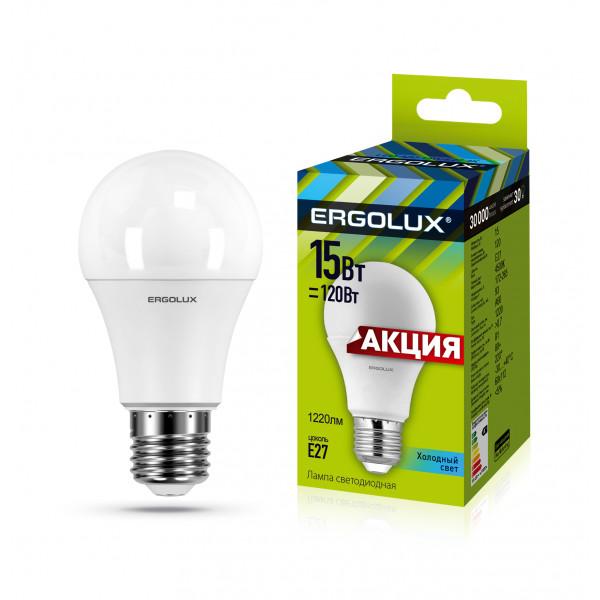 лампа LED ERGOLUX A60-15W-E27-4K 120Вт _ПРОМО_ 13638( 2220 )