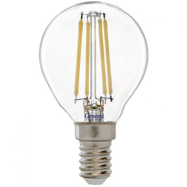 лампа LED GENERAL 7-G45S-6500-E14 75W 230V шарик филамент 649904*( 2347 )
