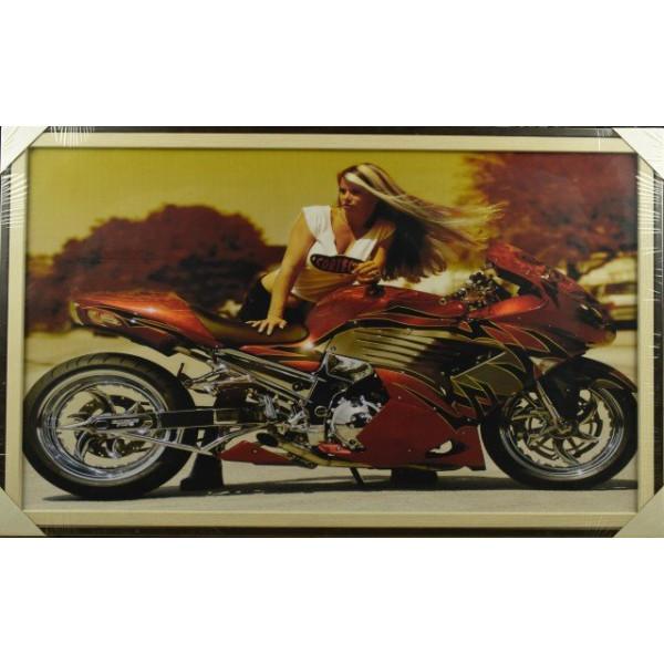 картина репрод ТРИПТИХ деко-бокс 100*60 37 Девушка и мотоцикл( 2516 )