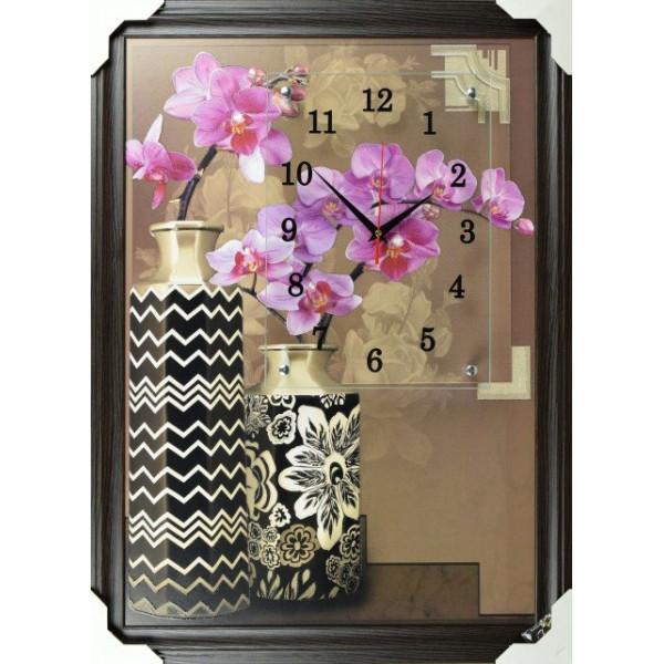 часы-картины натен. в багете FV-424 УСПЕХ (50*70см) кварц. орхидеи в вазе( 2697 )