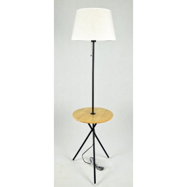 торшер ФА5002 Wood+Flax (400*450*1600мм) дерево/черн( 3085 )