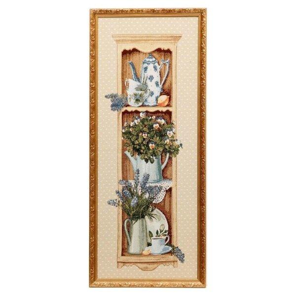 картина гобелен Дачная этажерка ЕВРО (90*36) Г/Т, К4 с лавандой( 351 )