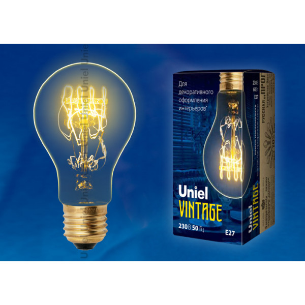 лампа накал UNIEL VINTAGE SW01 IL-V-A60-60/GOLDEN/E27 ЛОН золото( 3906 )