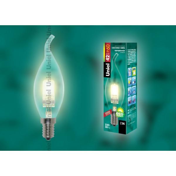 лампа галоген UNIEL HCL-42/CL/E14 FLAME _свеча н/ветру_ прозрачная( 421 )