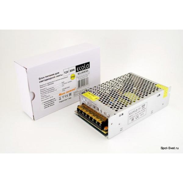 блок питания ECOLA д/LED ленты 12V  80W IP20 B2L080ESB( 5531 )
