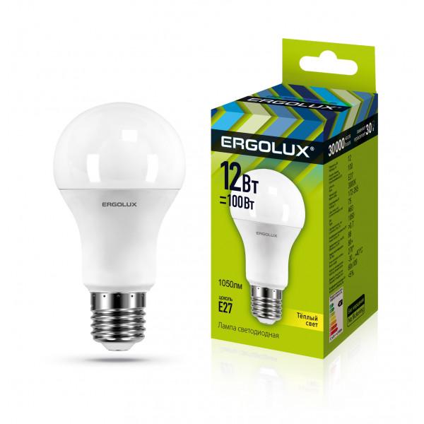 лампа LED ERGOLUX A60-12W-E27-3K 100Вт 12150( 6920 )