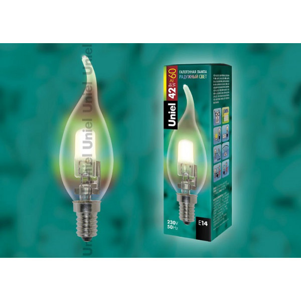 лампа галоген UNIEL HCL-28/CL/E14 FLAME _свеча н/ветру_  прозрачная*( 7787 )