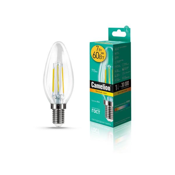 лампа LED CAMELION  7-C35-FL/830/E14 220V 60W филамент 13452( 89655 )