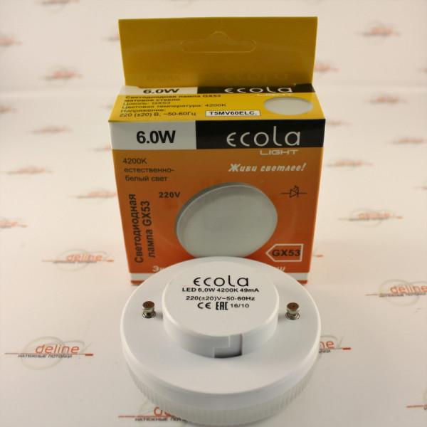 лампа LED ECOLA GX53  6W 4200K T5MV60ELC ( 8987 )