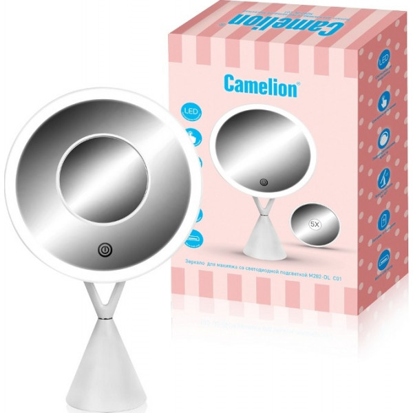 зеркало с LED подсв М282-DL C01 CAMELION (питание USB, 4*LR03 AA) 14004( 90681 )