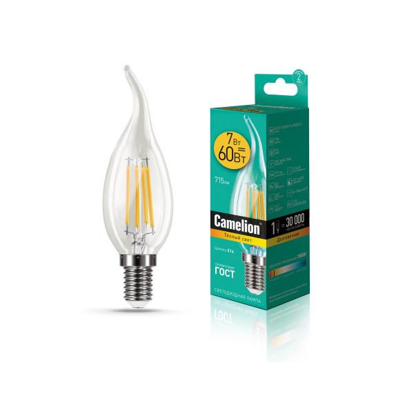лампа LED CAMELION  7-CW35-FL/830/E14 220V свеча на ветру филам 13454*( 90714 )