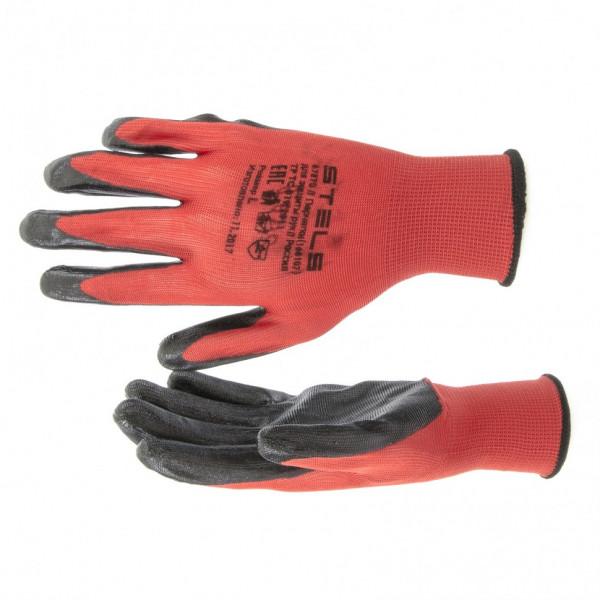 перчатки STELS 15кл полиэф. с черн нитрильным покр. L  67870( 91821 )
