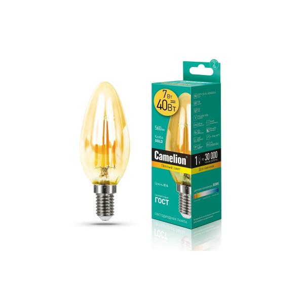 лампа LED CAMELION  7-C35-FL-GD/830/E14 220V 40W филамент золото 13451*( 92363 )
