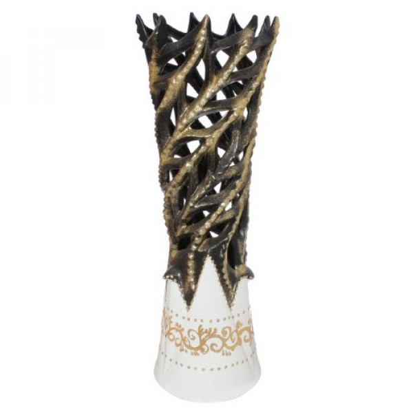 ваза напольн. 58см ЛАБРЮТ золото, черн/бел ( 93502 )