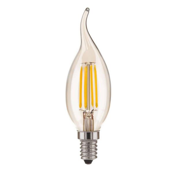 лампа LED EL-ST 5W CDW F Е14 3300K свеча н/ветру филамент (нити) матир.* ( 999 )